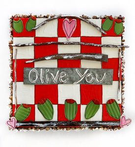 Olive You on Red and White Checks