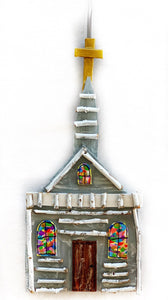 Little Grey Church Ornament with the Brown Door