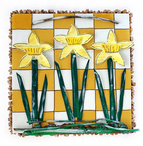 Daffodils on Gold and White