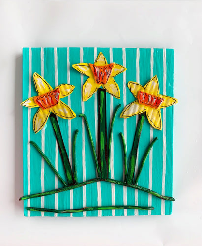 Three Daffodils on Turquoise
