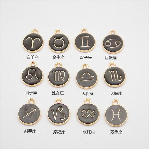 Wholesale 120pcs Zodiac Pendant Charm constellation Jewelry Finding 15*12*1mm Fit Bracelets Necklace DIY Metal Jewelry Making