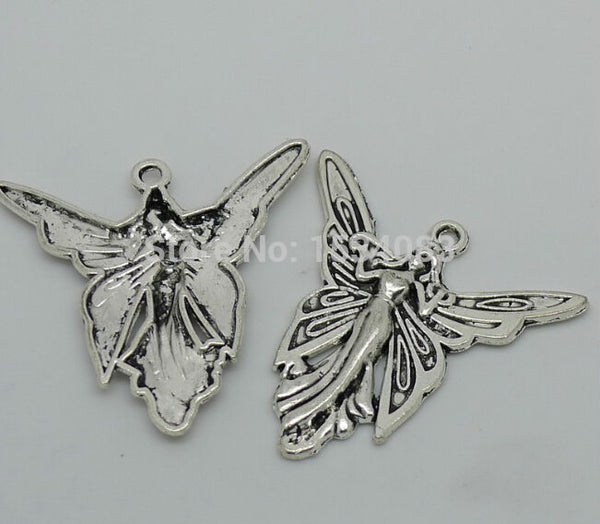 butterfly charm pendant 50pcs 37*37mm antique silver fit bracelet necklace diy metal jewelry making
