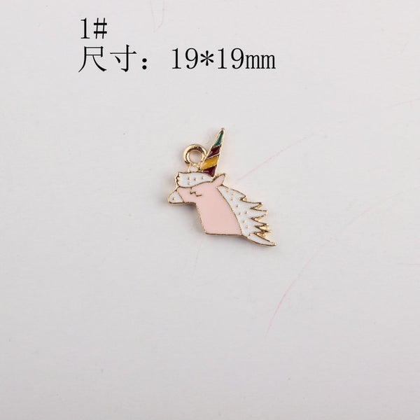 50pcs/lot Fashion Colorful Drop Oil Enamel Horse Charms Unicorn series Pendant for DIY Jewelry Bracelet Necklace Making