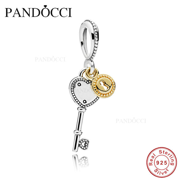 Fits PANDORA Bracelet Charms Beads for Jewelry Making Key to My Heart Silver Charms 925 Sterling Silver Bead Valentines Day Gift