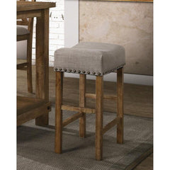 Dark Olive Green Backless Nailhead Upholstered Counter Height Stools w/Footrest - Set Of 2 BH70833 BH73833