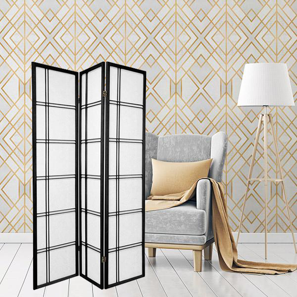 Oriental Folding Room Divider Screen Hardwood Shoji Screen Room Separator Partition Wall Double Cross Black 3 Panels
