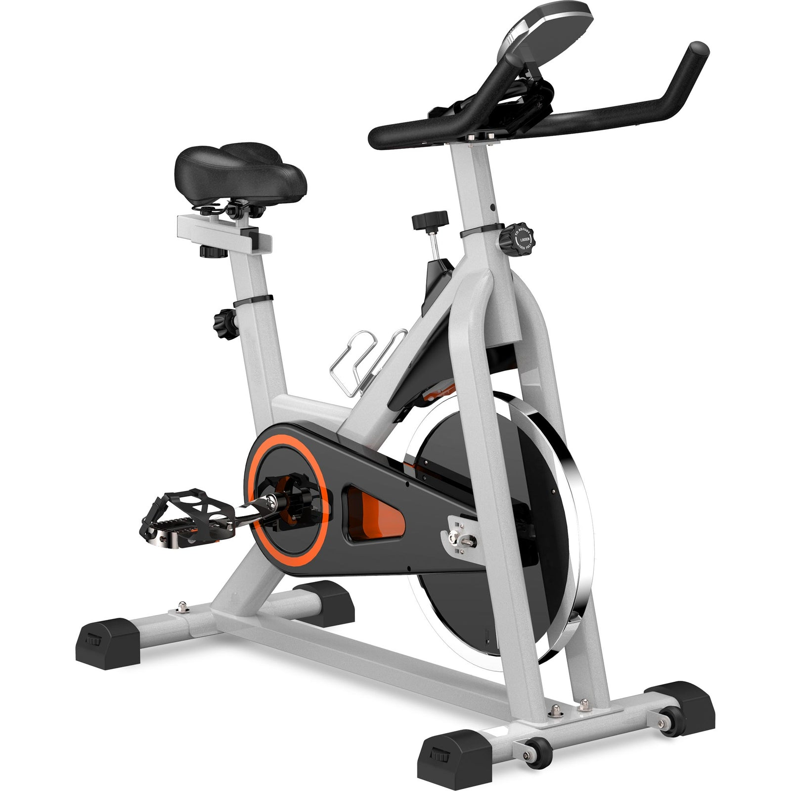 Gray Indoor Cycling Bike Stationary, Belt Driven Smooth Exercise Bike with Oversize Soft Saddle and LCD Monitor BH192377