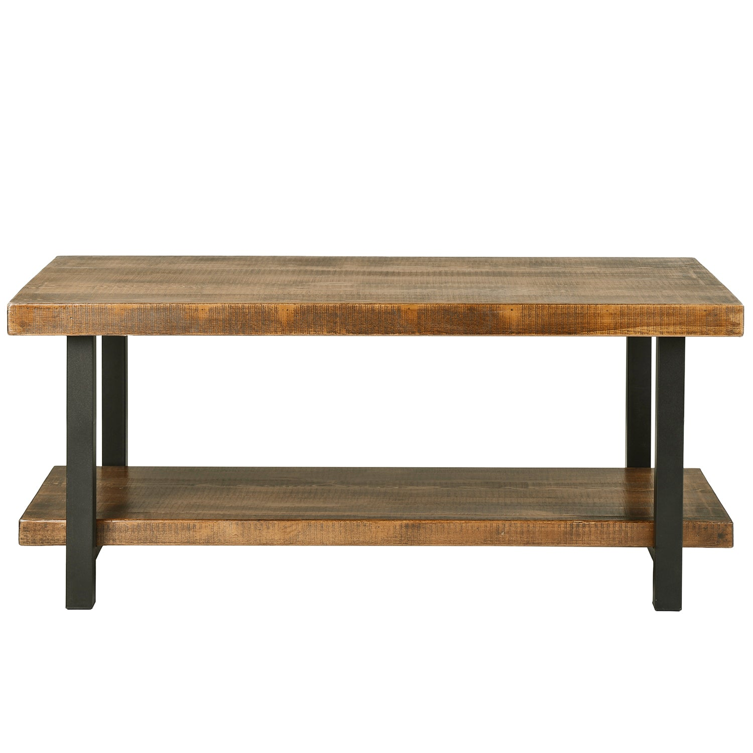 Rectangle Rustic Natural Coffee Table with Storage Shelf for Living Room Easy Assembly