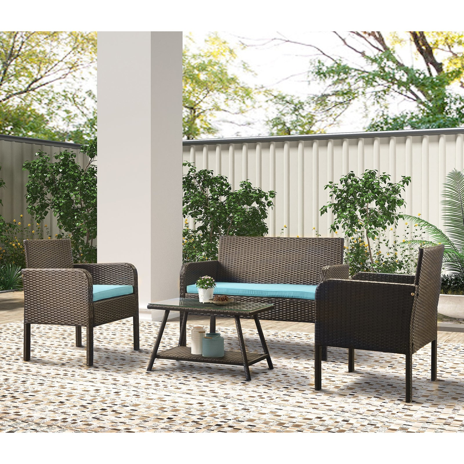 4 Counts - Rattan Sofa Seating Group with Cushions, Outdoor Rattan sofa - Blue