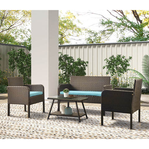 4 Counts - Outdoor Furniture Rattan Chair & Table Patio Set Outdoor Sofa for Garden, Backyard, Porch and Poolside BHSH000114 BH190311