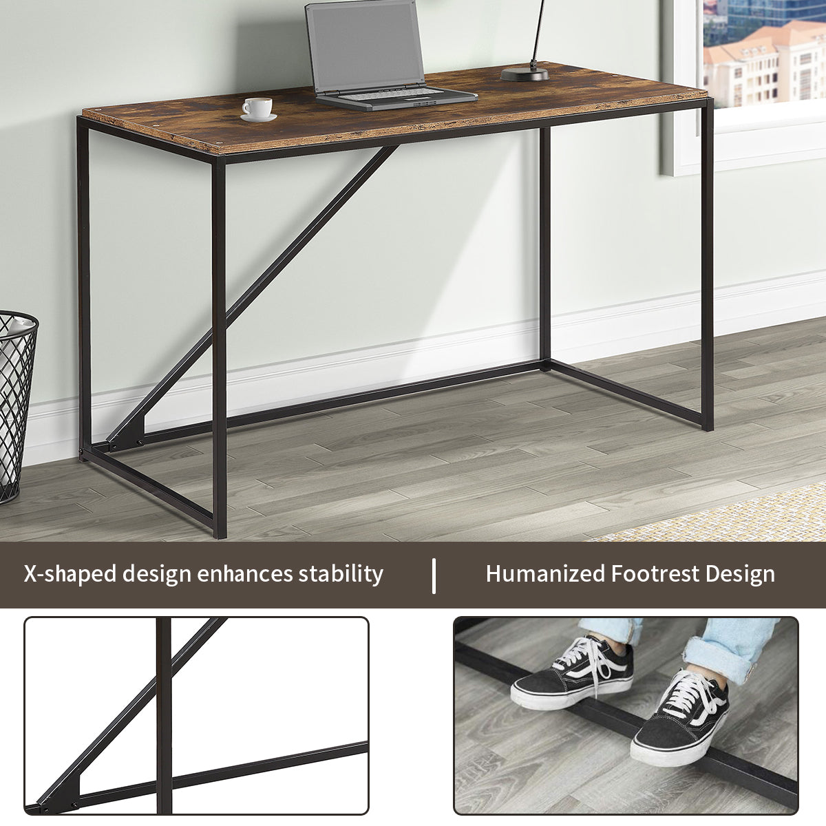 Industrial 46-Inch Computer Desk, Small Desk Home Office Study Desk Metal Frame, Modern Simple Laptop Table BH194171