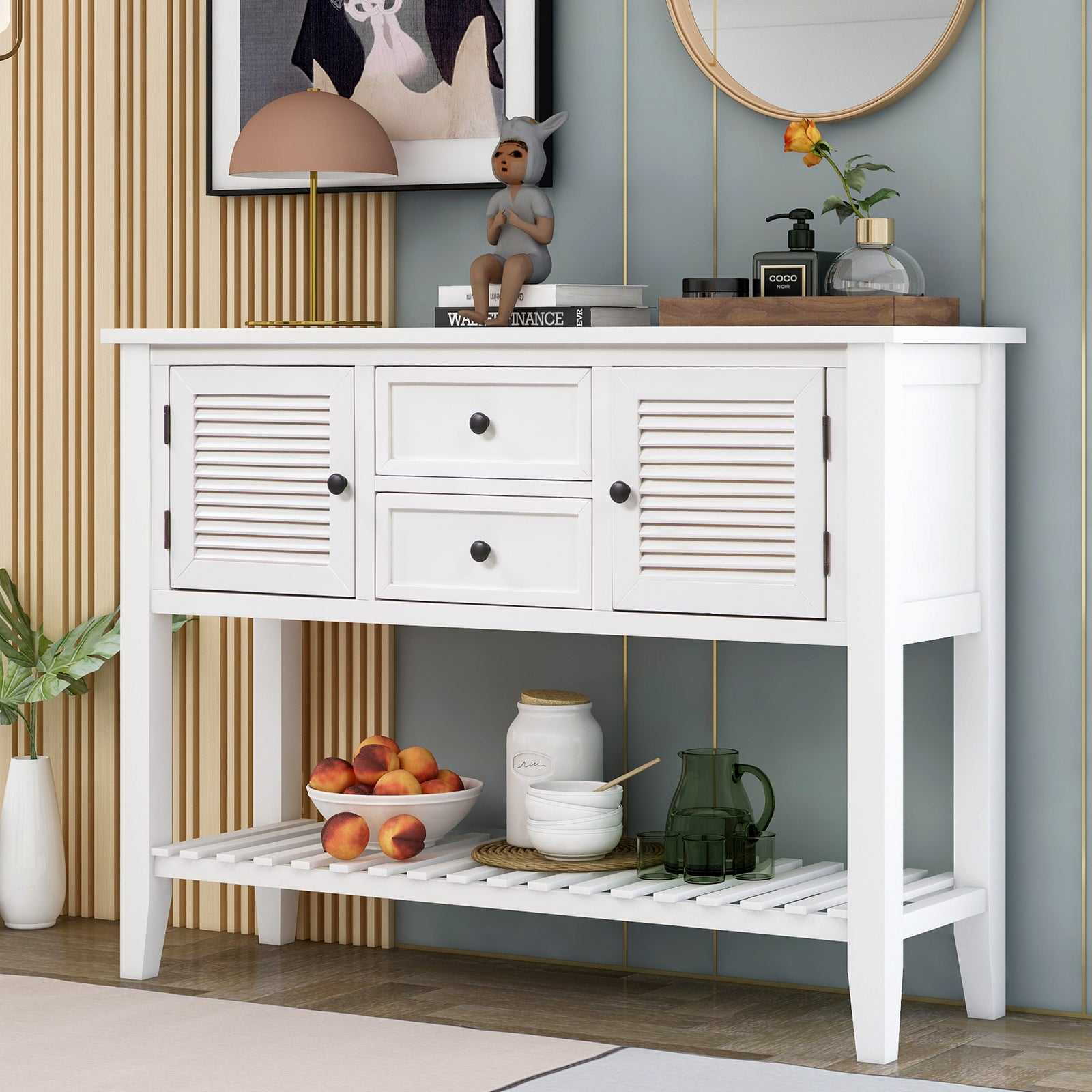 Lavender Console Table Sideboard with Shutter Doors Two Storage Drawers and Bottom Shelf BH196438