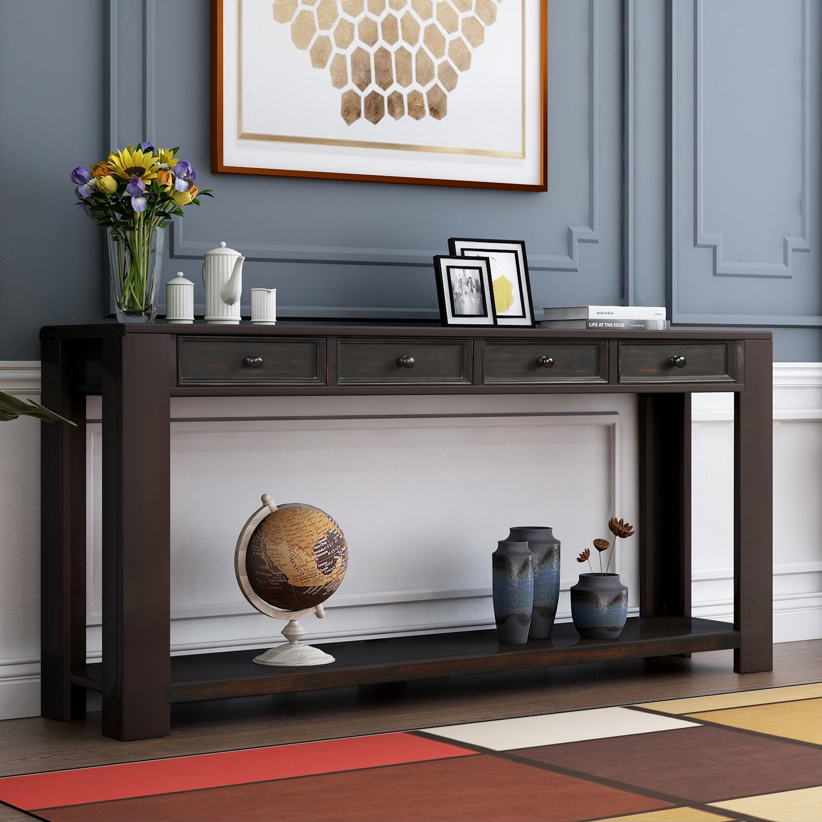 Gray Rectangular Console Table for Entryway Hallway Sofa Table with Storage Drawers and Bottom Shelf BH189615
