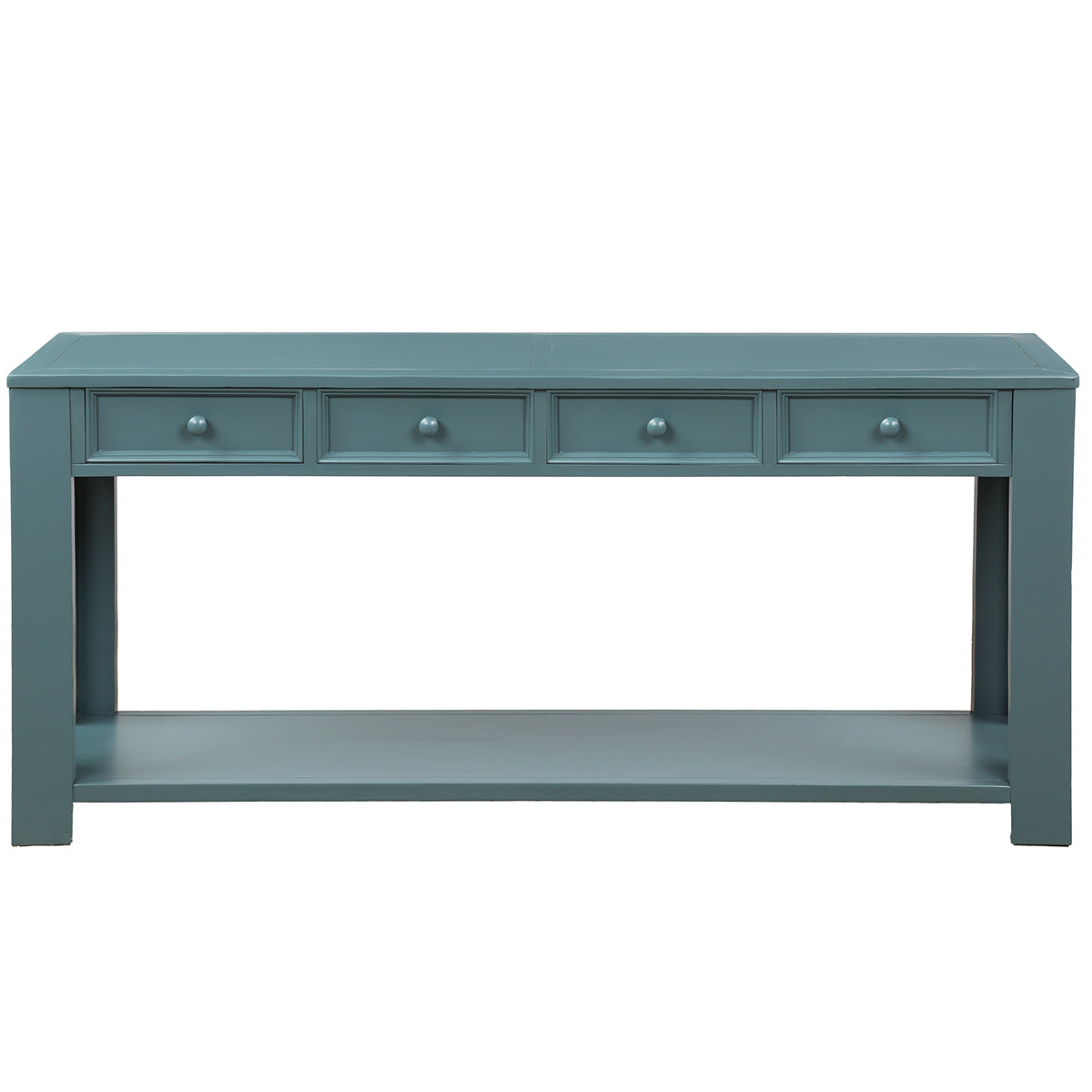 Light Slate Gray Rectangular Console Table for Entryway Hallway Sofa Table with Storage Drawers and Bottom Shelf BH189615