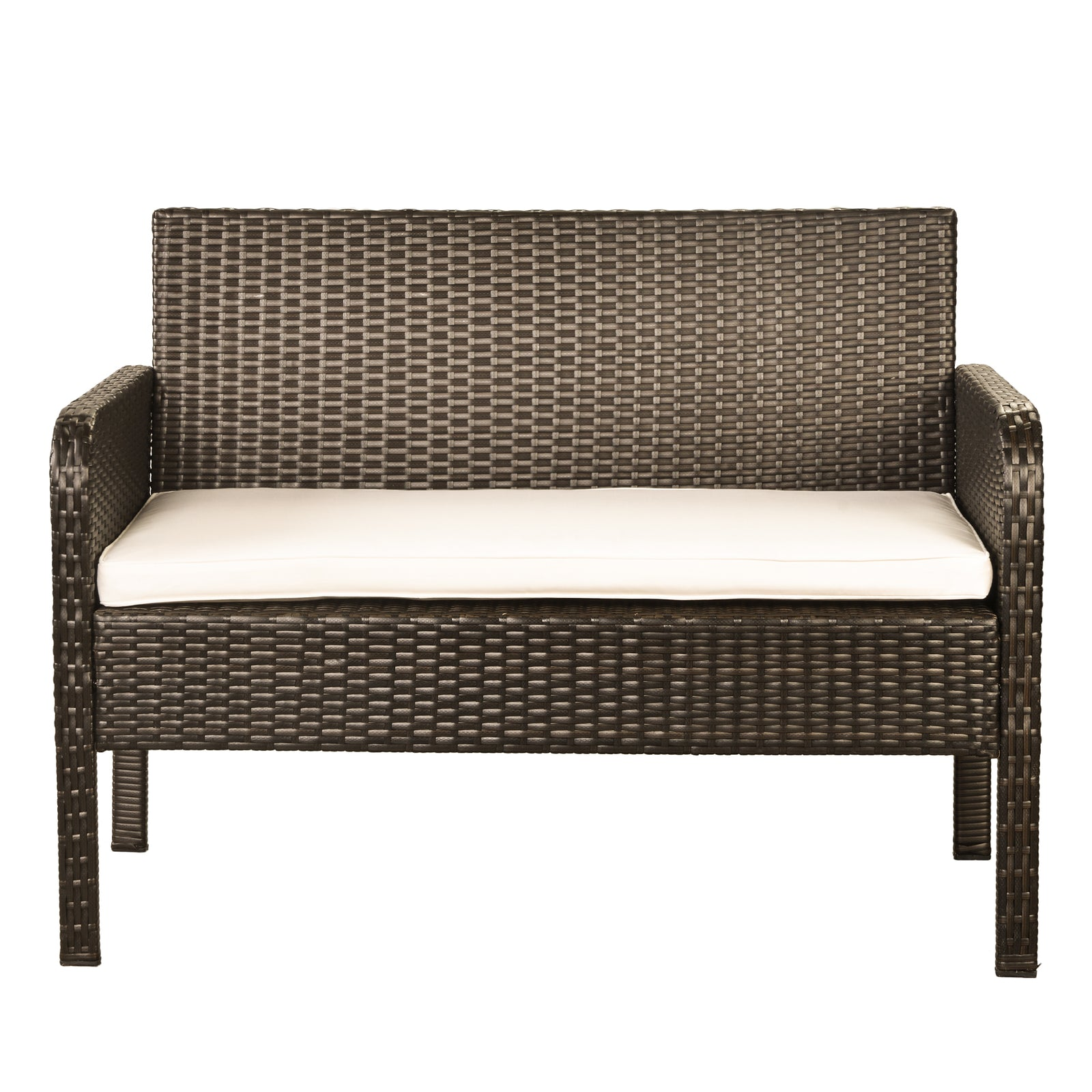 4 Counts - Rattan Sofa Seating Group with Cushions, Outdoor Rattan sofa Beige - Loveseat