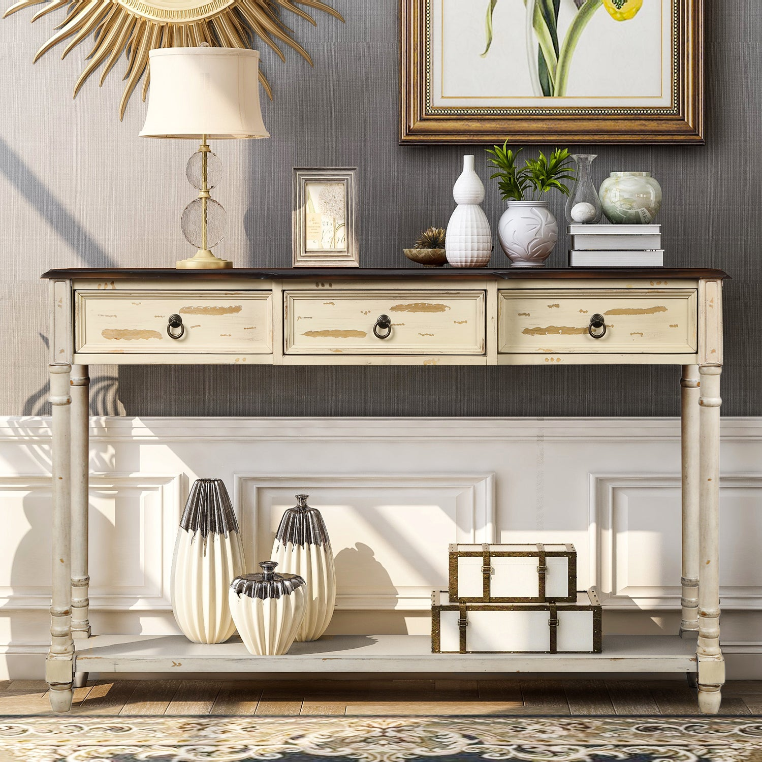 Dark Slate Gray Luxurious & Exquisite Design Console Table Sofa Table with Drawers for Entryway with Projecting Drawers and Long Shelf BH189574