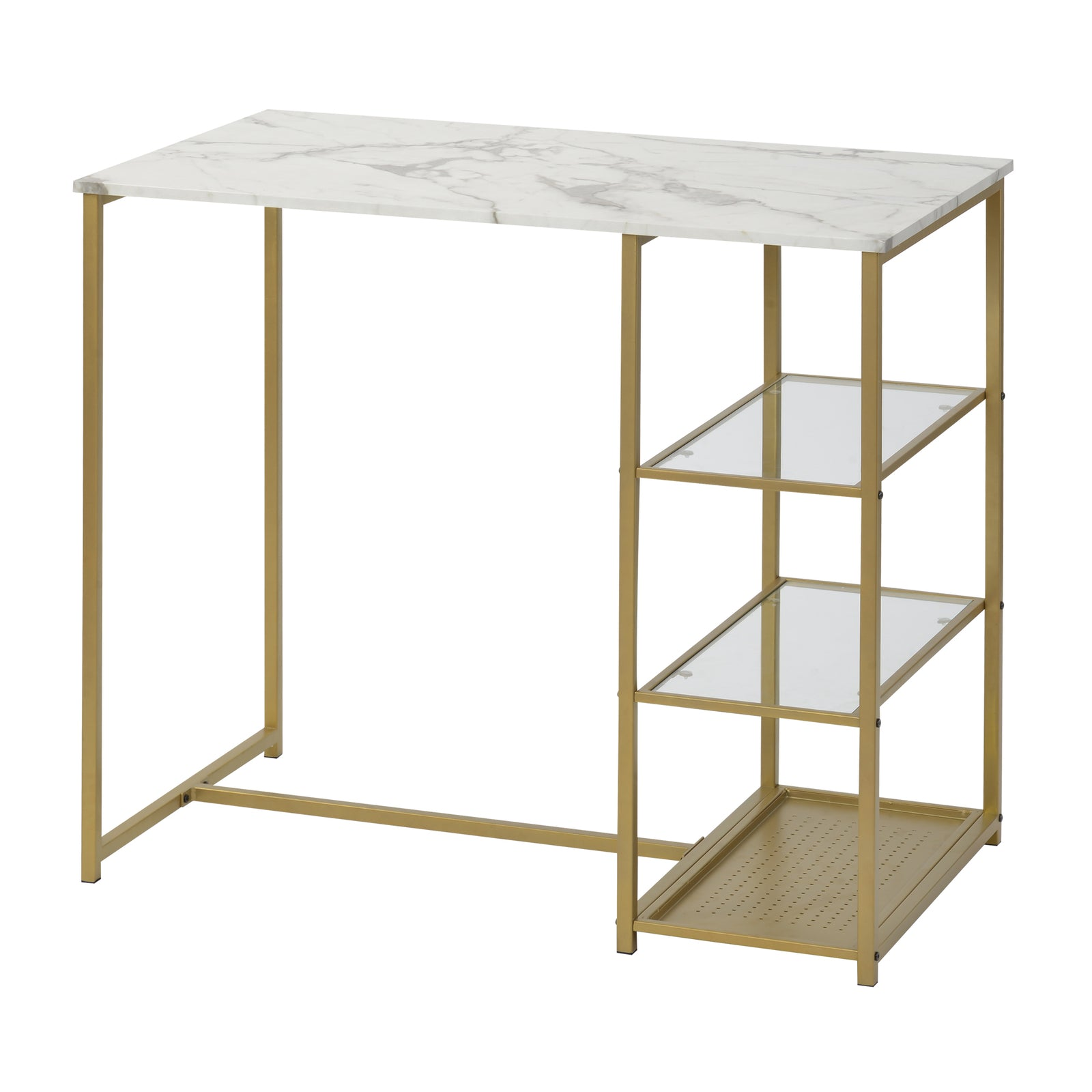3 Counts - Modern Pub Set with Rectangular Table and Bar Stools - Gold Table