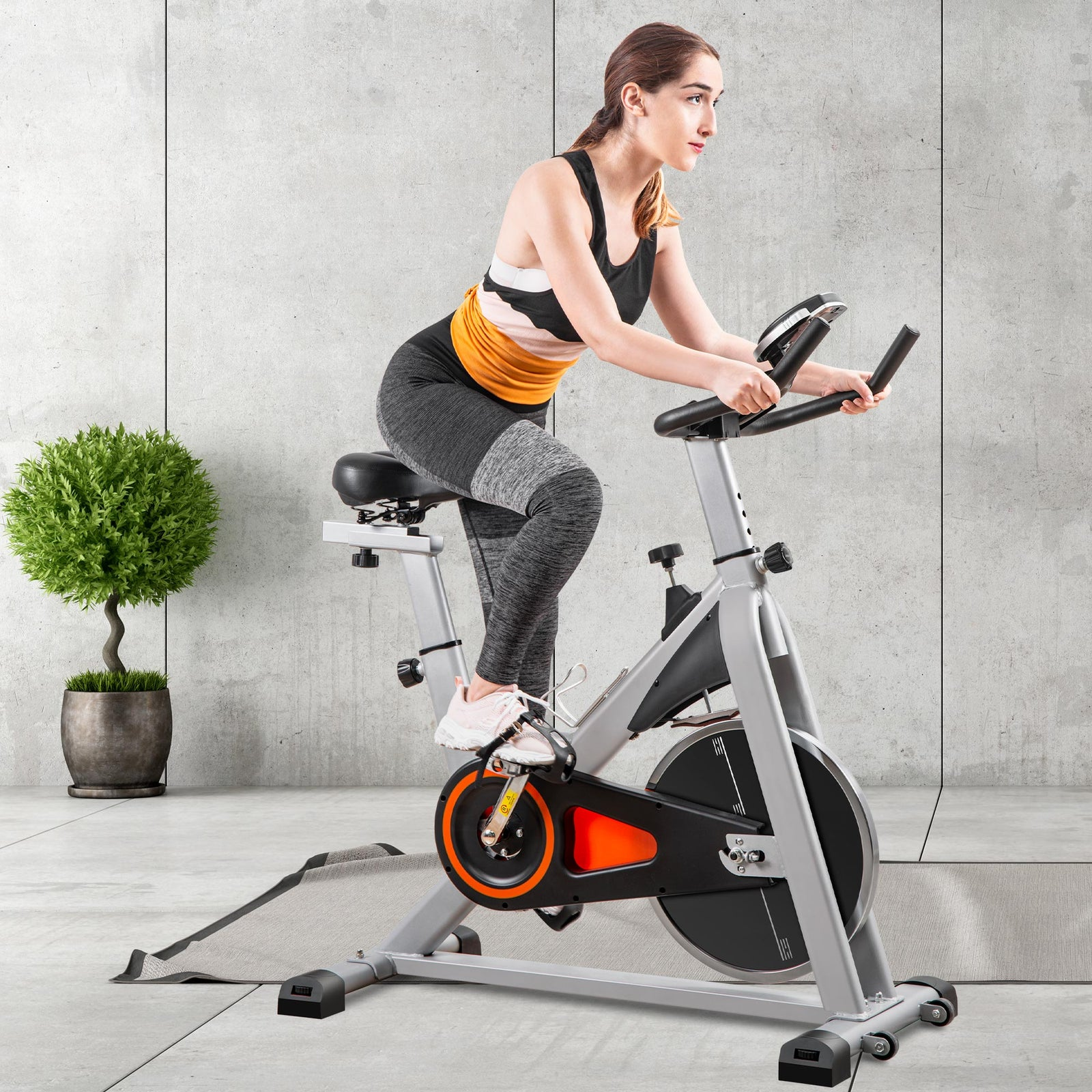 Dark Slate Gray Indoor Cycling Bike Stationary, Belt Driven Smooth Exercise Bike with Oversize Soft Saddle and LCD Monitor BH192377