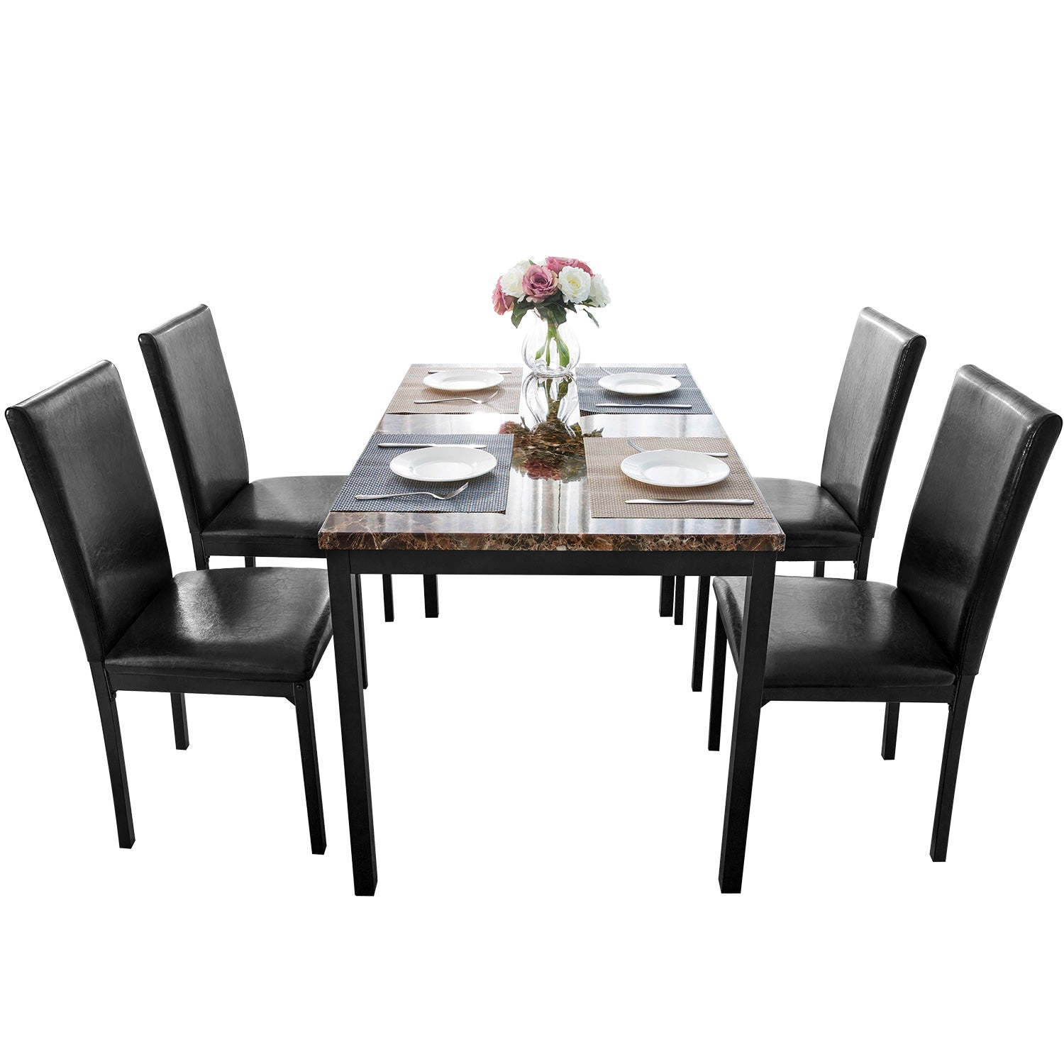5 Counts - Dining Set Kitchen Table Set Dining Table and 4 Leather Chairs BHSG000110