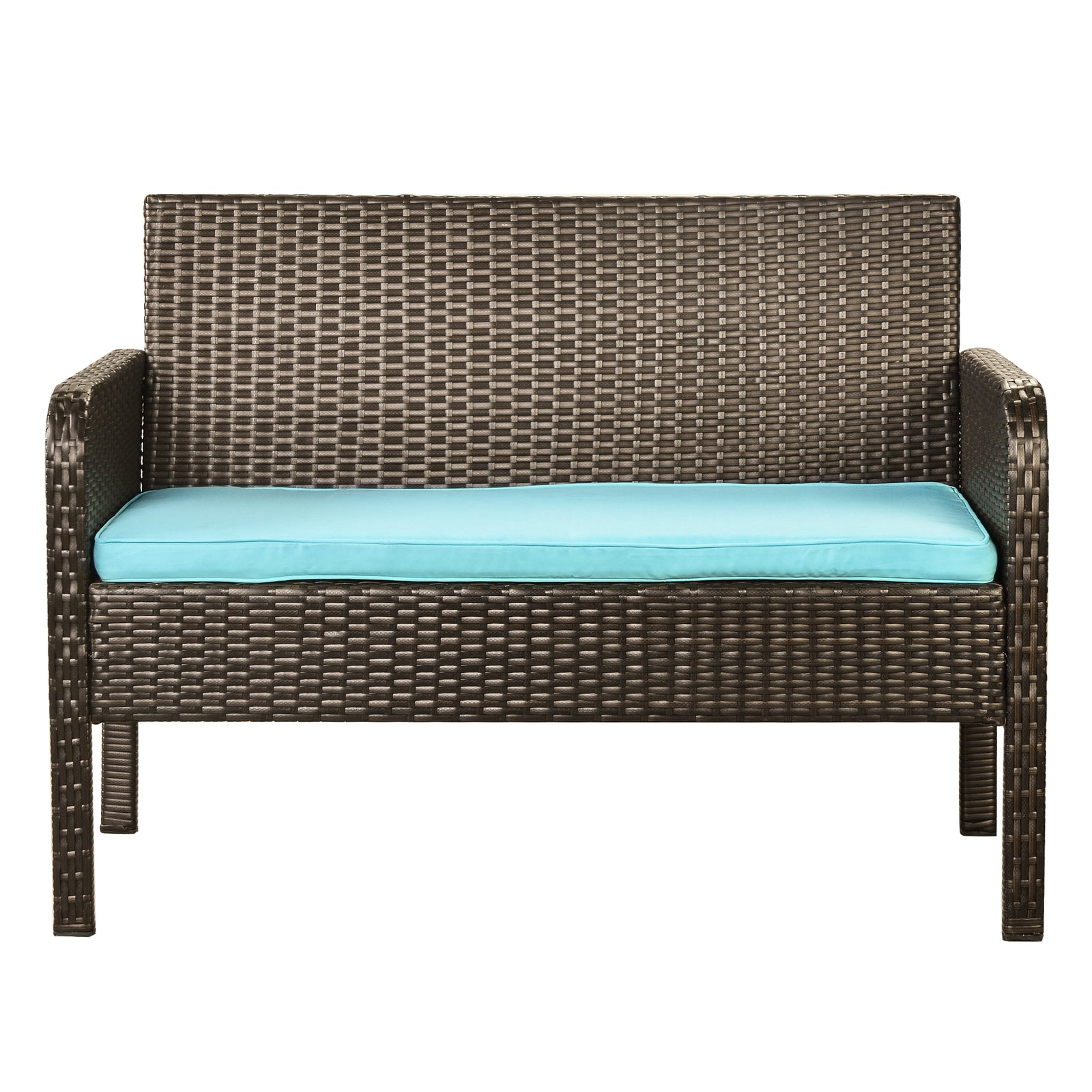 4 Counts - Rattan Sofa Seating Group with Cushions, Outdoor Rattan sofa Blue - Loveseat