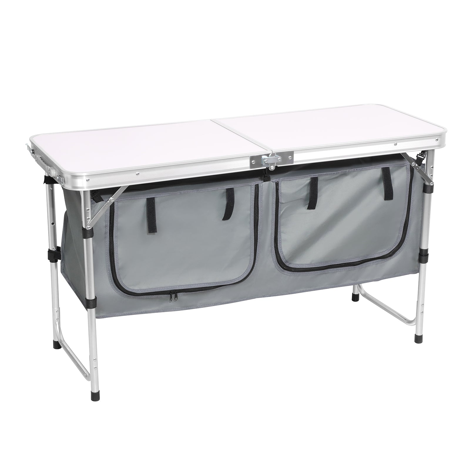 Dark Gray Folding Camping Picnic Table w/Extended Panel, Compact Aluminum Lightweight Picnic Table