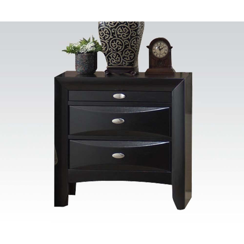 Black Wooden End Table Side Table Bedroom Nightstand With Two Drawers & A Tray BH21704 BH22704 BH04163