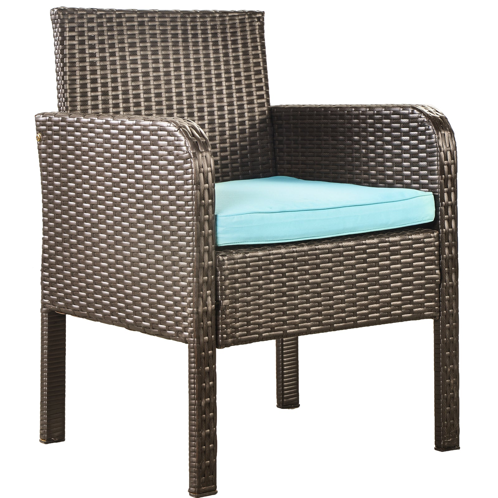 4 Counts - Rattan Sofa Seating Group with Cushions, Outdoor Rattan sofa Blue - Chair