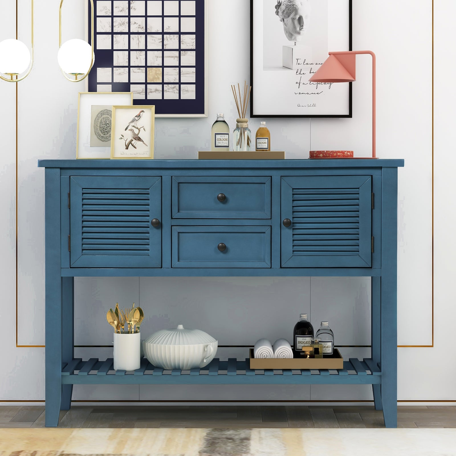 Dark Slate Gray Console Table Sideboard with Shutter Doors Two Storage Drawers and Bottom Shelf BH196438