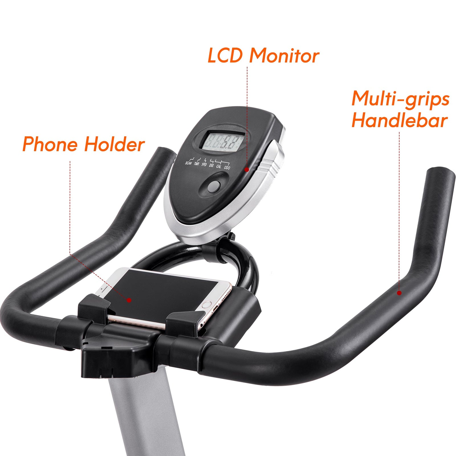 Dim Gray Indoor Cycling Bike Stationary, Belt Driven Smooth Exercise Bike with Oversize Soft Saddle and LCD Monitor BH192377