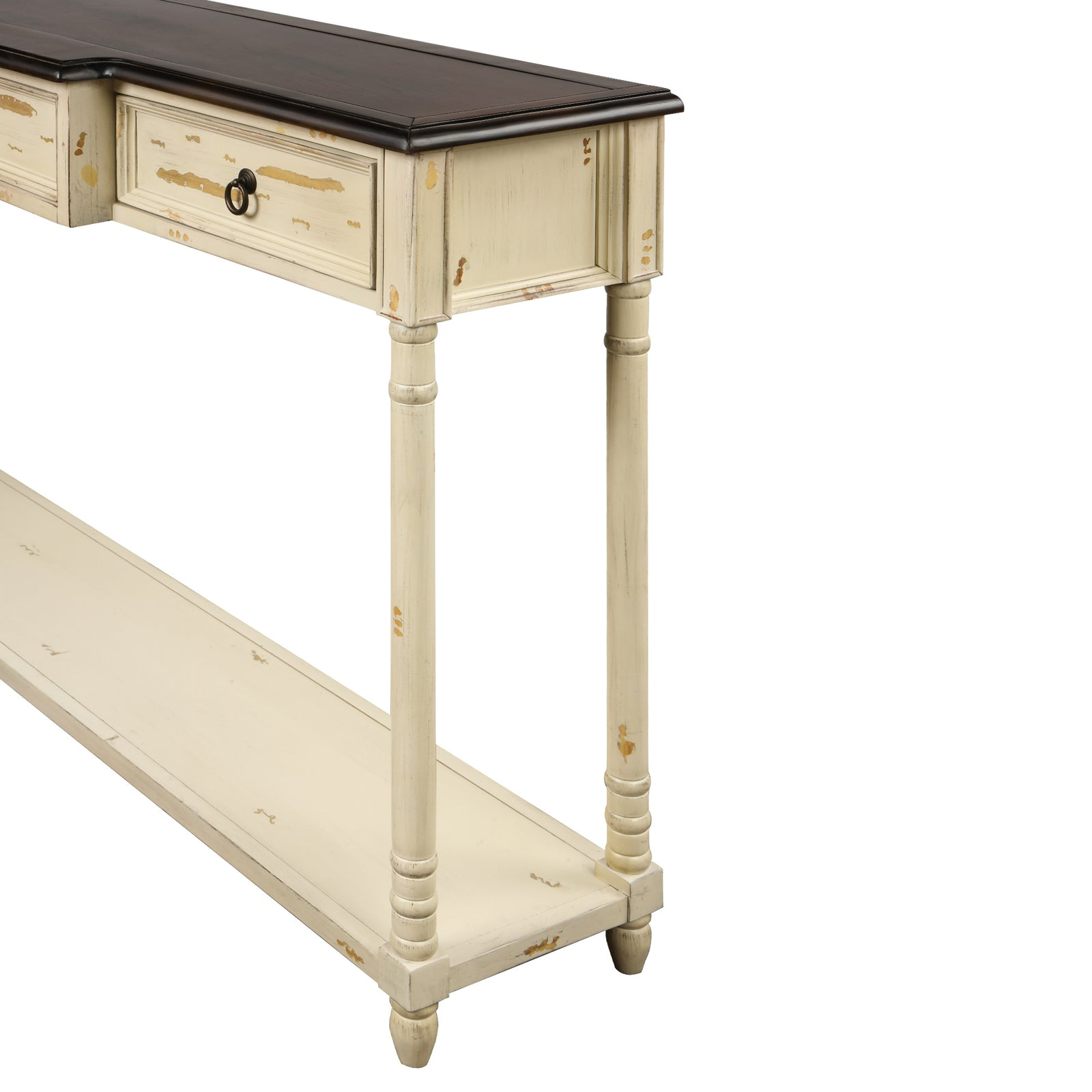 Tan Luxurious & Exquisite Design Console Table Sofa Table with Drawers for Entryway with Projecting Drawers and Long Shelf BH189574