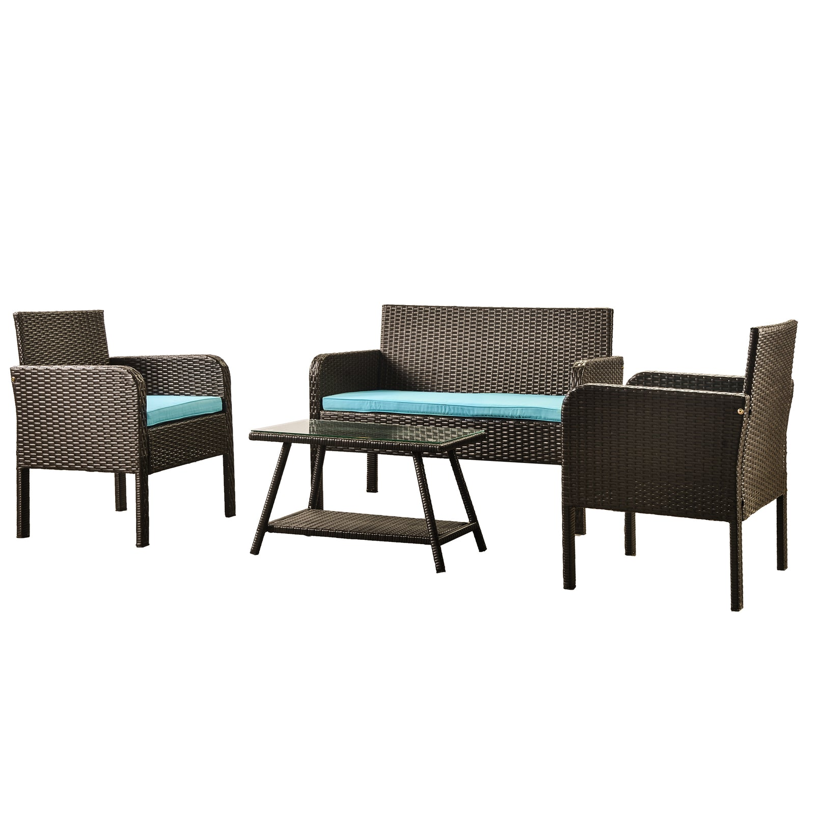 4 Counts - Rattan Sofa Seating Group with Cushions, Outdoor Rattan sofa Blue