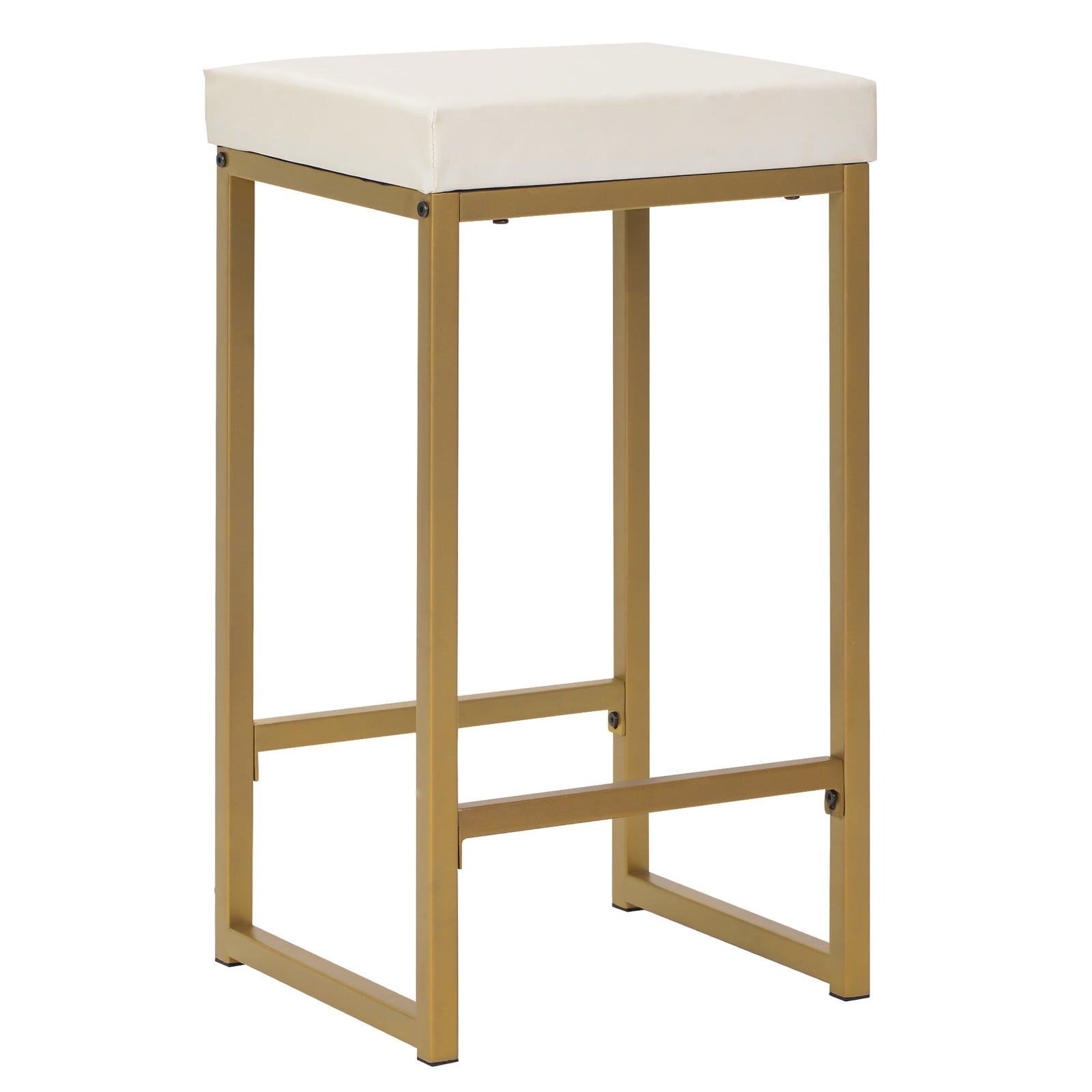 3 Counts - Modern Pub Set with Rectangular Table and Bar Stools - Gold Stool