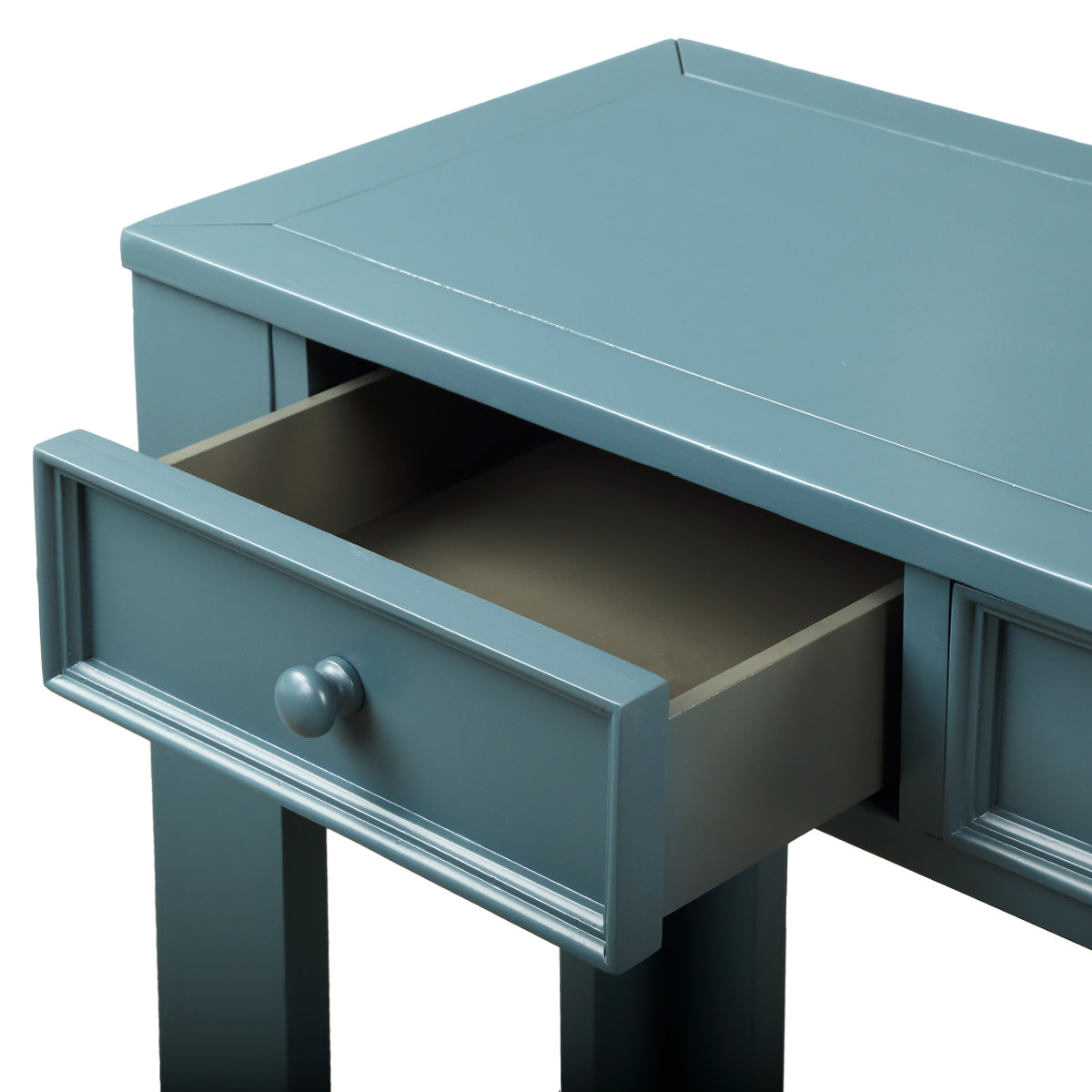 Cadet Blue Rectangular Console Table for Entryway Hallway Sofa Table with Storage Drawers and Bottom Shelf BH189615