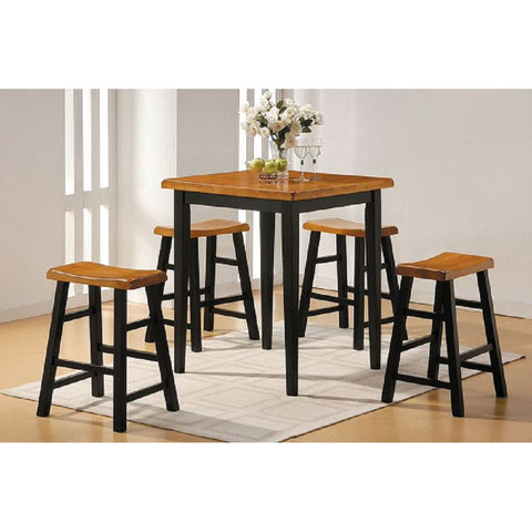 Coaster 102098-S5 | Hollow Round Counter Height Table Dining Set Amber And Black - 5 Counts