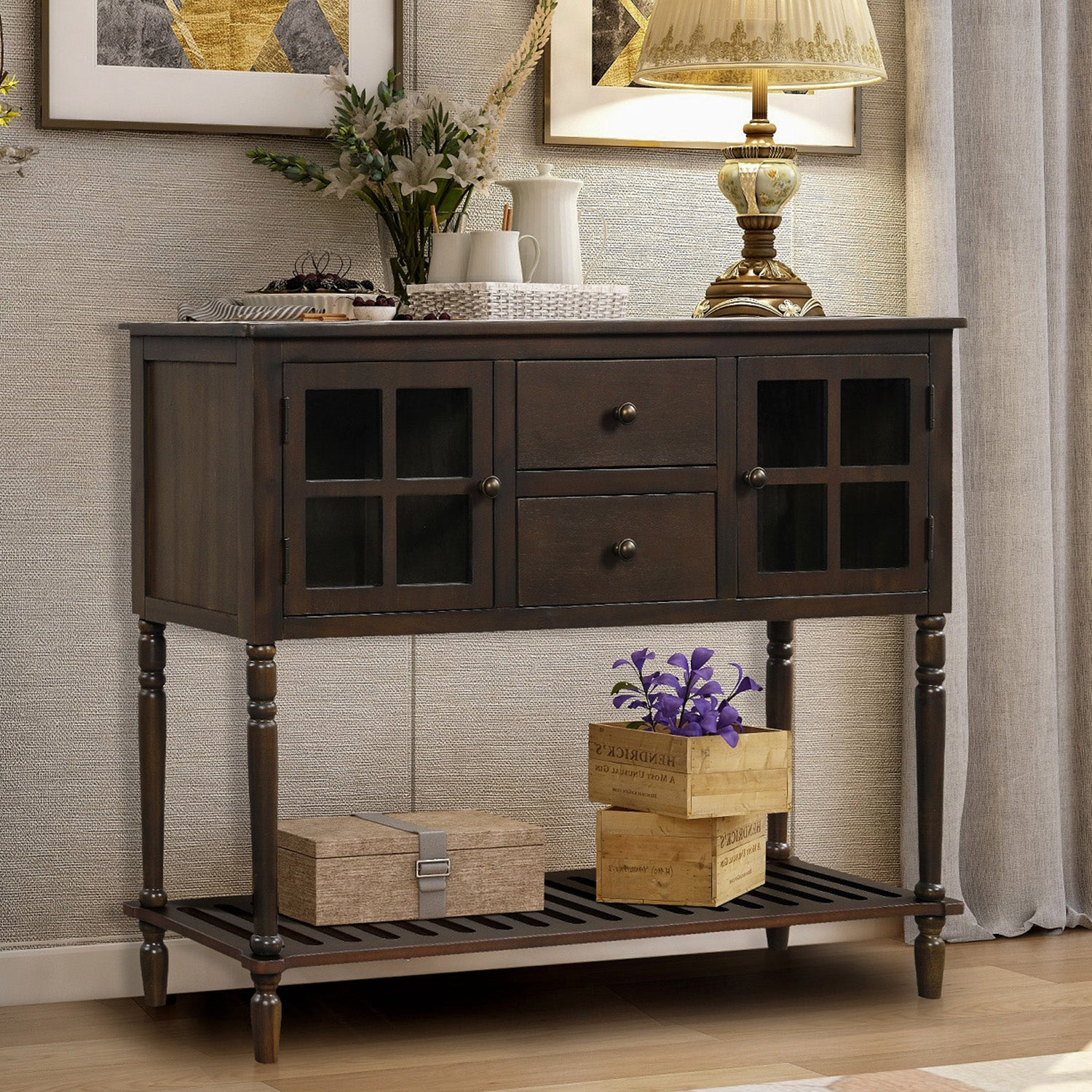Sideboard Console Table with Bottom Shelf, Farmhouse Wood/Glass Buffet Storage Cabinet Living Room BH193444