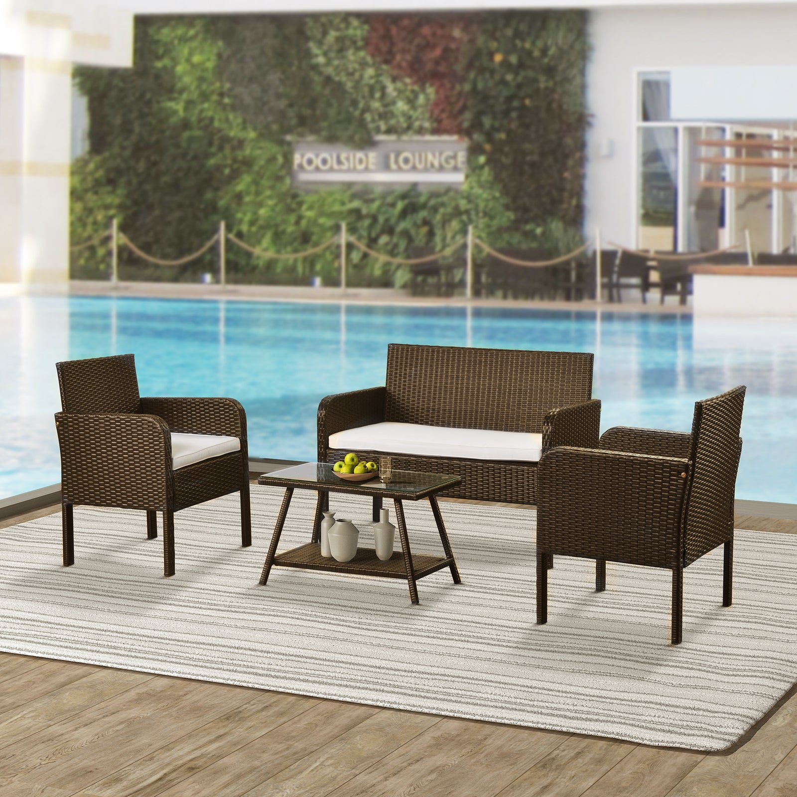 4 Counts - Rattan Sofa Seating Group with Cushions, Outdoor Rattan sofa Beige