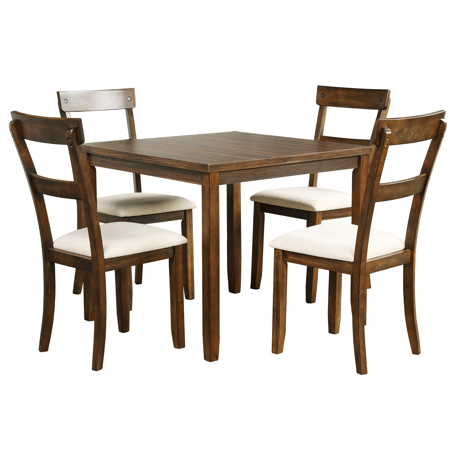 Dark Olive Green 5 Counts - Dining Table Set Industrial Wooden Kitchen Table and 4 Chairs for Dining Room ST000010