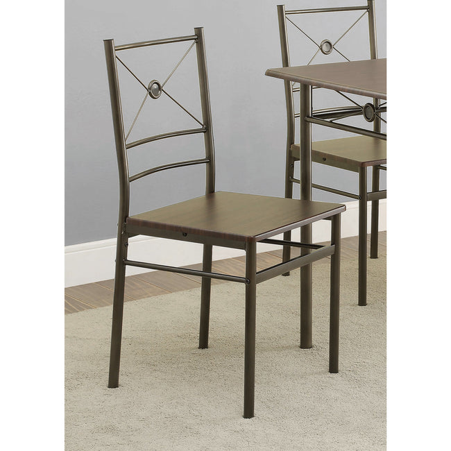 Coaster 100033 | Industrial Metal Table + Dining Chairs Set - 5 Count