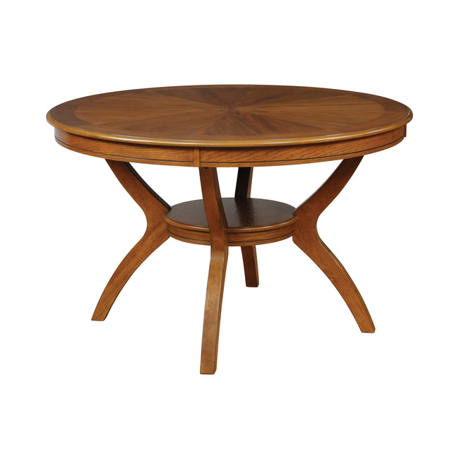Coaster 102171 Round Top Dining Table With Shelf Deep Brown