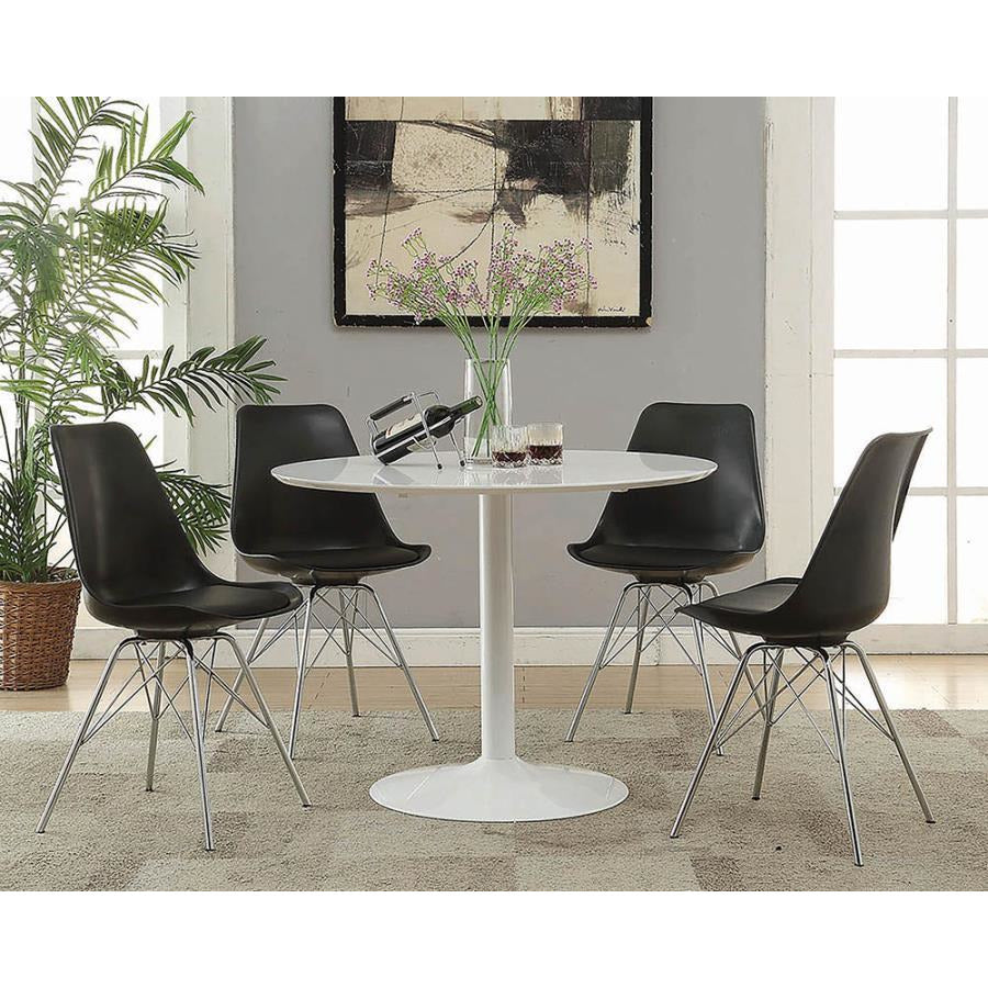 Coaster 102682 | Metal Legs Cushion Seat Armless Dining Sides Chairs Black Set Of 2