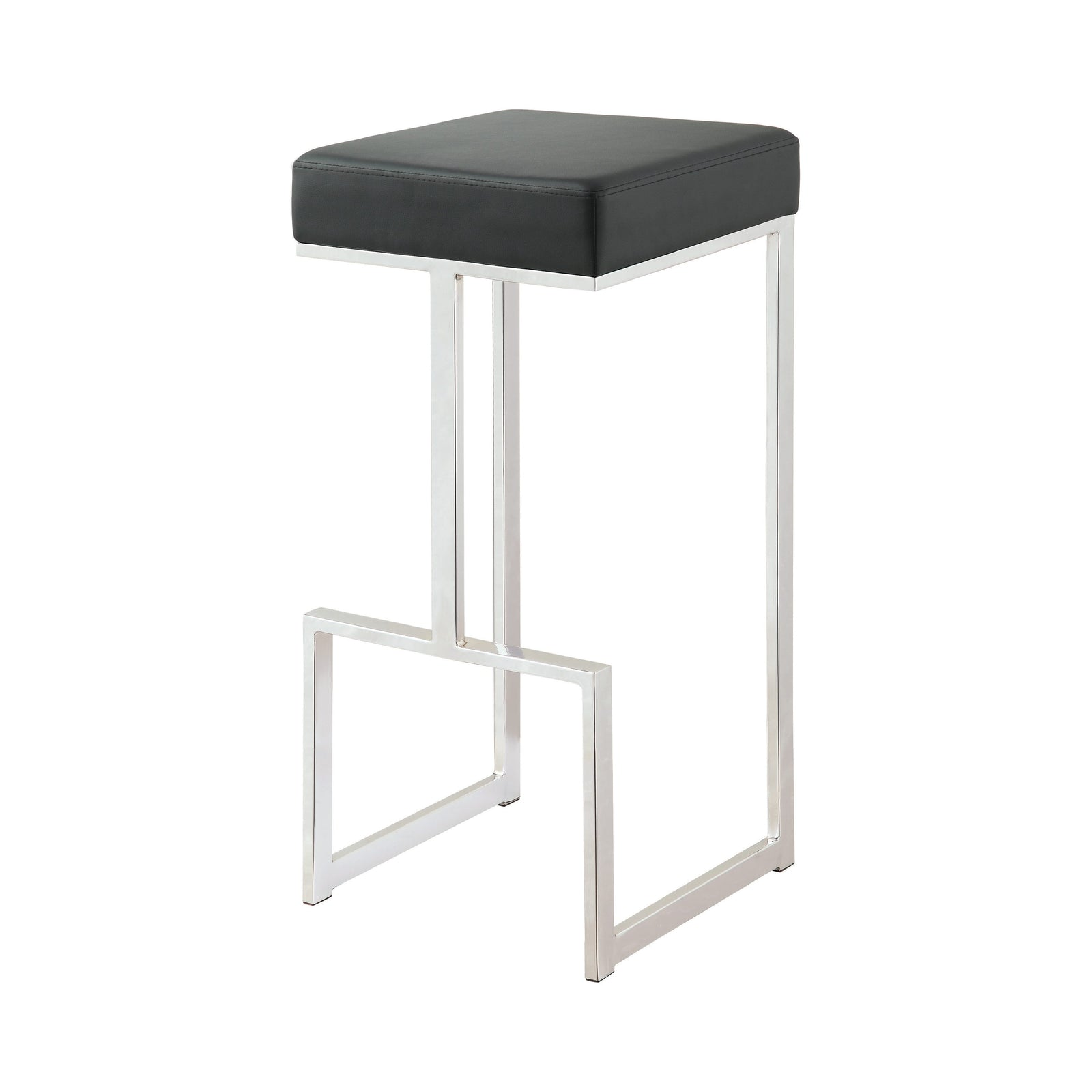 "Coaster 105263 | 29""H Modern Metal Base Square Bar Stool Counter Height Chair Black"