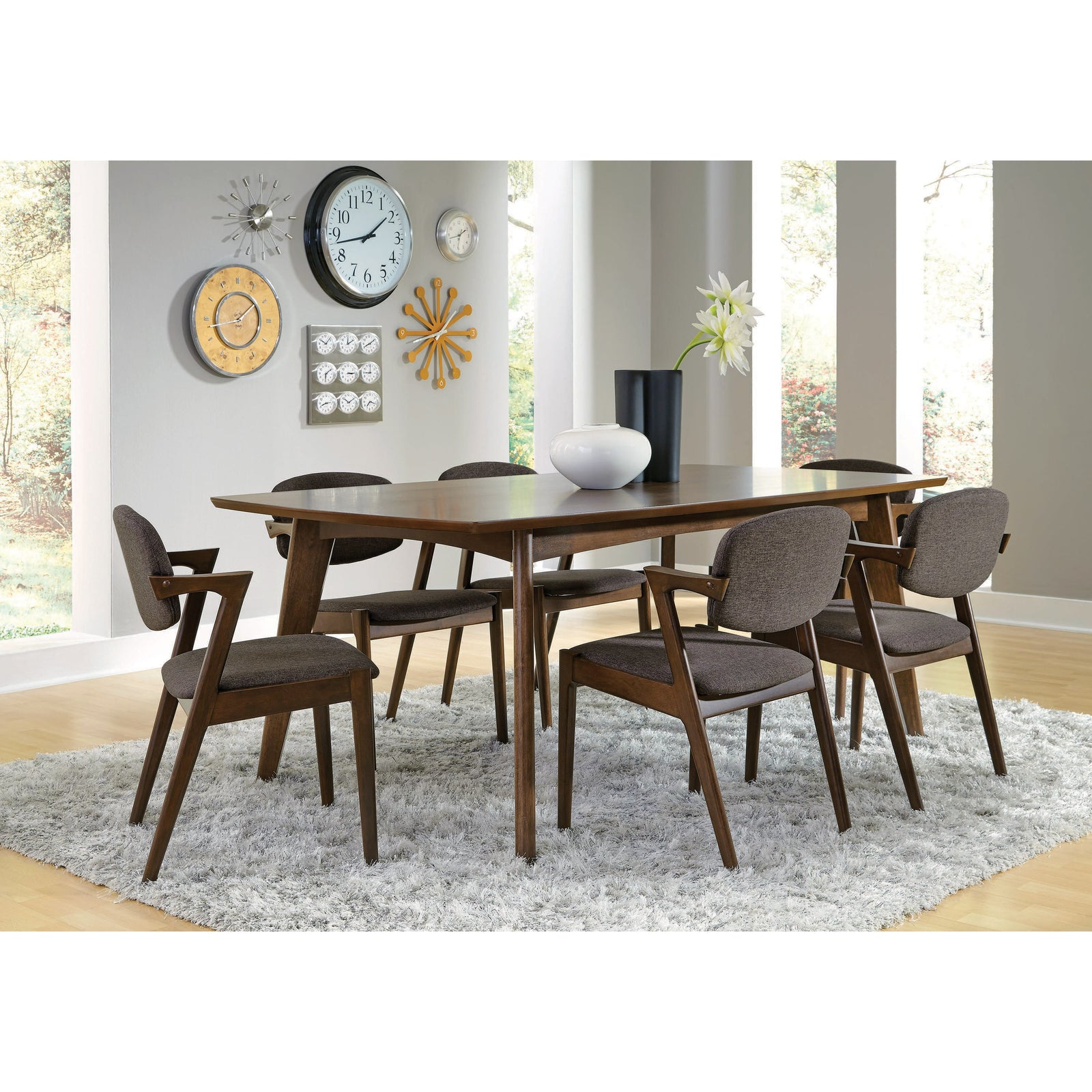 Coaster 105352 | Mid-Century Dark Walnut Dining Side Chairs With Grey Cushion Set Of 2