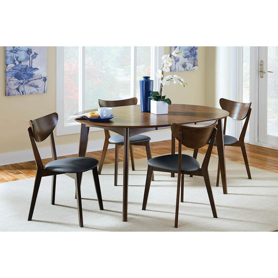 Mid-Century Dark Walnut Dining Side Chairs With Curved Back Cushion - 2 Count