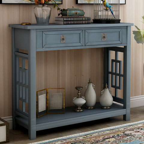 Luxurious & Exquisite Design Console Table Sofa Table with Drawers for Entryway with Projecting Drawers and Long Shelf BH189574