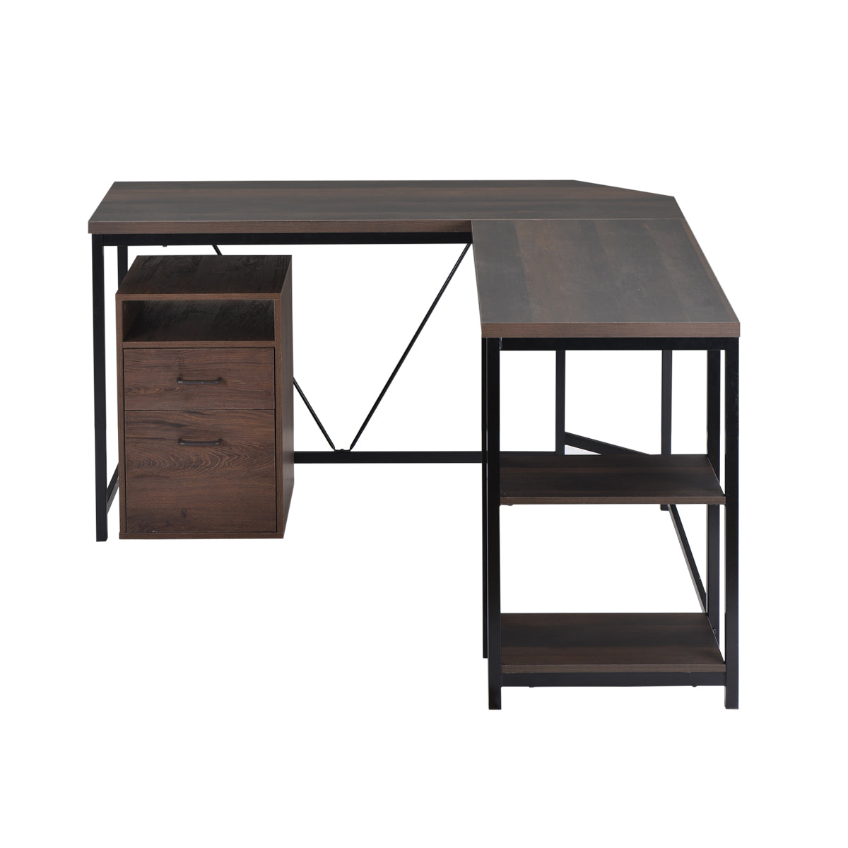 L-Shaped Computer Desk with 2-Tier Storage Shelves for Home Office Walnut