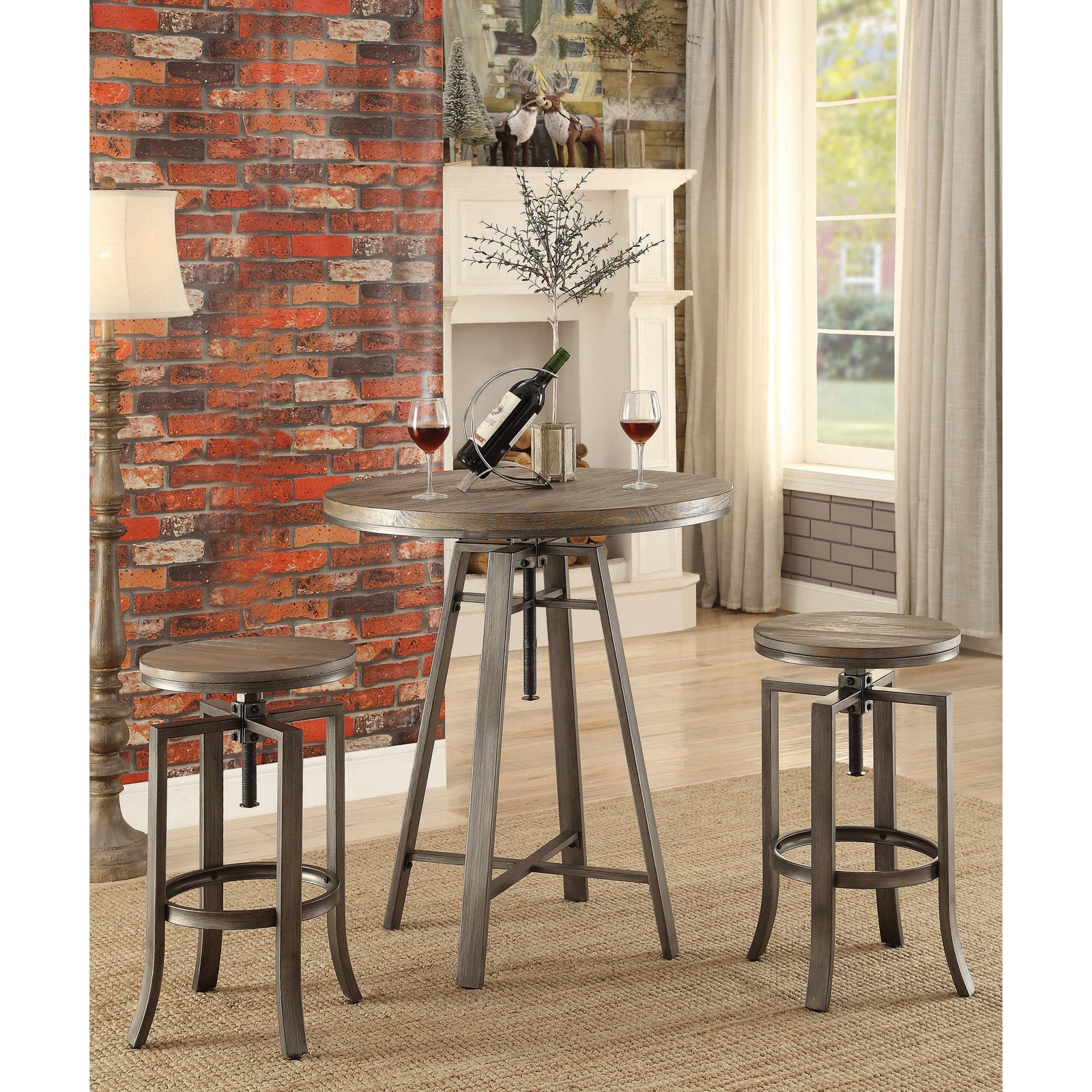 Coaster 122101 | Adjustable Height Swivel Bar Stools With Footrest Set Of 2
