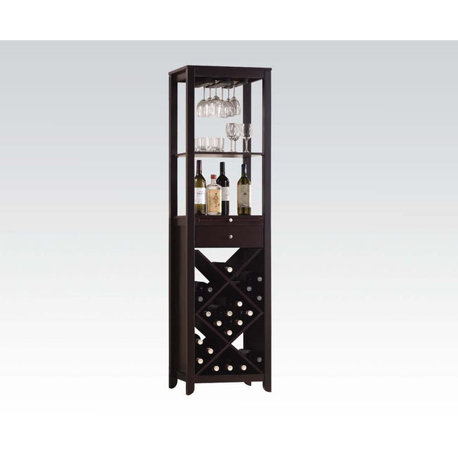 Black Rectangular Wooden Wine Cabinet w/2 Open Compartments, Drawer, Tray, Wine Bottle Rack & Steamware Rack in Wenge BH12244