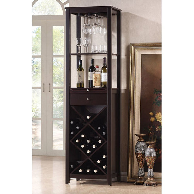 Rectangular Wooden Wine Cabinet w/2 Open Compartments, Drawer, Tray, Wine Bottle Rack & Steamware Rack in Wenge