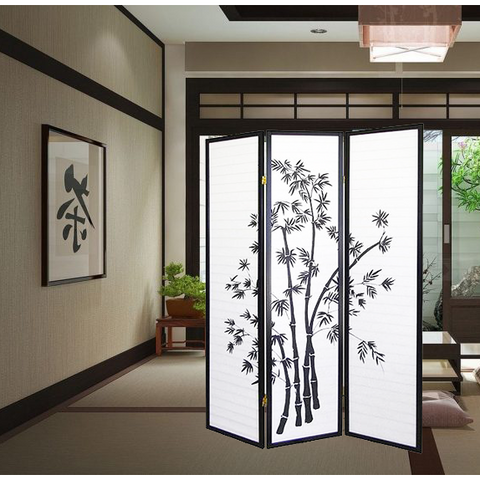 Oriental Folding Room Divider Screen Hardwood Shoji Screen Partition Wall Room Separator Blinds Espresso 3 Panels