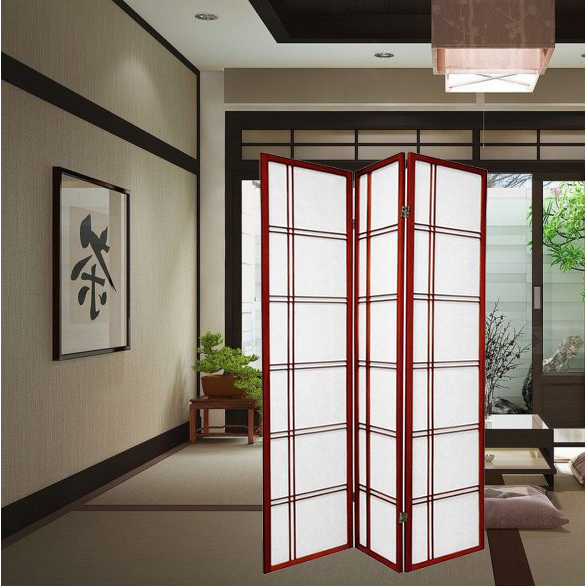 Oriental Folding Room Divider Screen Hardwood Shoji Screen Room Separator Partition Wall Double Cross Cherry 3 Panels